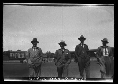 Negative, depicts cricketers in suits c1932