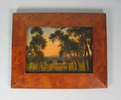 Oil painting of the Police Paddock, looking east towards the Dandenongs, c.1859, by Eugene Von Guérard