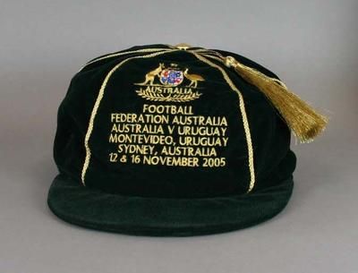 Traditional cap presented to the members of the 2005 Australian soccer team for participation in the 2005 World Cup qualifying matches against Uruguay, 12 and 16 November 2005
