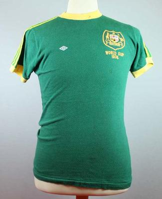 Socceroos shirt worn by Harry Williams against Chile, 1974 FIFA World Cup, Berlin