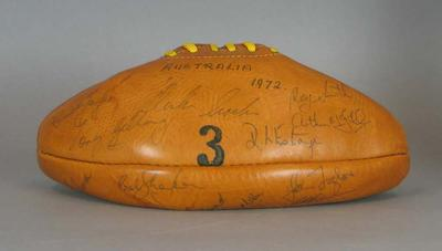 Tan leather football signed by the Australian touring squad to New Zealand, 1972