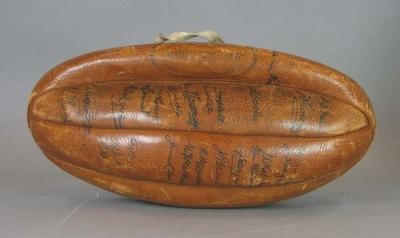 Brown leather football signed by the 1933 Australian Team touring South Africa