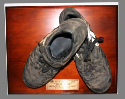 Pair of boots worn by John Eales during Rugby Union World Cup final between Australia and France, 6 November 1999.