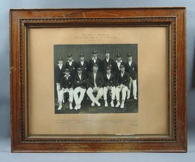 Photograph of Australian cricket team in Sydney, Dec 1920