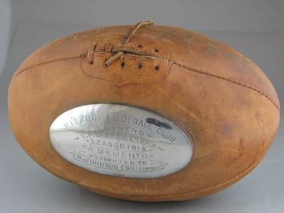 Football presented to Wally Johnson, captain of Fitzroy Football Club 1916 Premiership team