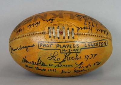 Football signed at Fitzroy Football Club Past Players Luncheon, 1995; Sporting equipment; N2013.68.6