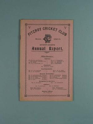Annual report, Fitzroy Cricket Club - season 1940/41