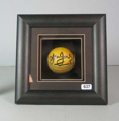 Framed cricket ball signed by Dean Jones, 1995.; Sporting equipment; M16743