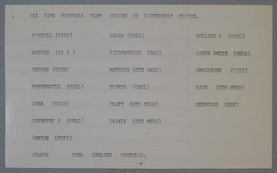 Card in envelope - All Time football team  chosen by Listener's Choice.
