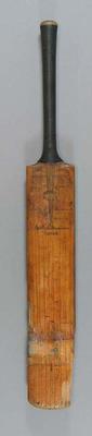 Cricket bat, inscribed with Arthur Mailey cartoon & Test player autographs