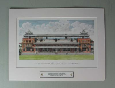 Print, 'THE PAVILION OF THE MARYLEBONE CRICKET CLUB AT LORD'S'