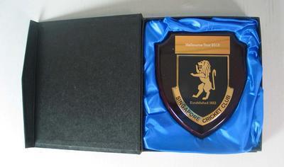 Singapore Cricket Club plaque presented to the Melbourne Cricket Club's XXIX Club, 2013