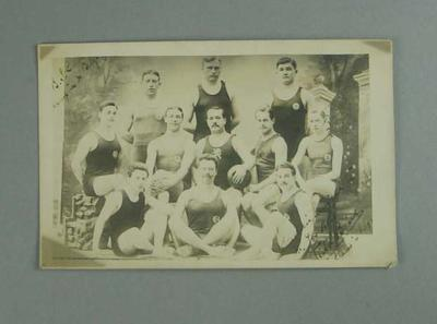 Postcard, image depicts a group of swimmers