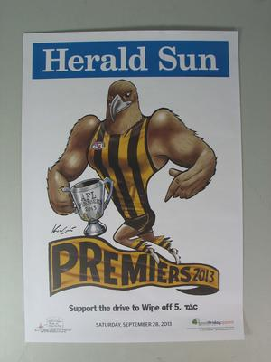 'Herald Sun' AFL Hawthorn Football Club Premiers poster, caricature by Mark Knight, 2013