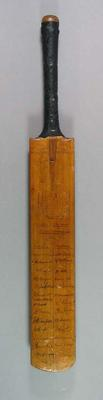 Cricket bat autographed by players, England v Australia Test match in Manchester - 1926