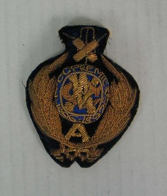 VCA First XI Premiership bullion badge presented to Percy Gellibrand Jennings, 1896/97