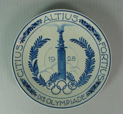 Delftware plate commemorating the Amsterdam Olympic Games, 1928