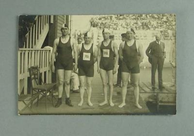 Postcard, image depicts a group of swimmers - 1920 Olympic Games; Documents and books; 1986.1304.225