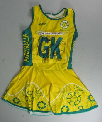 Netball dress worn by Liz Ellis at the Netball World Championships, Jamaica, 2003