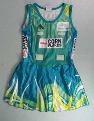 Netball dress worn by Liz Ellis, International Test series, c. 2001; Clothing or accessories; N2013.92.7