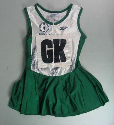 Netball dress worn by Liz Ellis at the XVIth Commonwealth Games, Malaysia, 1998