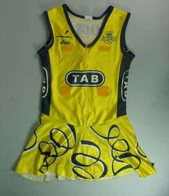 Sydney Swifts netball dress worn by Liz Ellis, c. 2007; Clothing or accessories; N2013.92.11