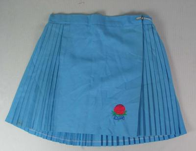 Netball skirt worn by Liz Ellis, New South Wales Catholic Schools netball team, c. 1989; Clothing or accessories; N2013.92.15