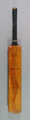 Cricket bat, autographed by 1948 Australian & English cricket teams