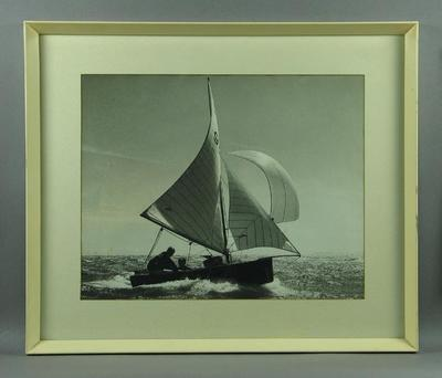 """Photograph of the dinghy """"Frances"""", treble winner of the Sayonara Cup"""