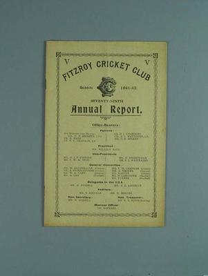 Annual report, Fitzroy Cricket Club - season 1941/42