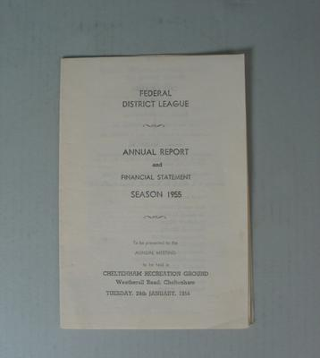 Federal Football League Annual Report and Financial Statement, Season 1955