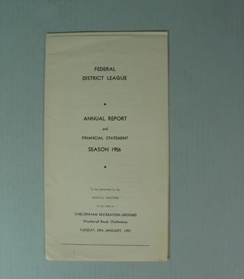 Federal Football League Annual Report and Financial Statement, Season 1956