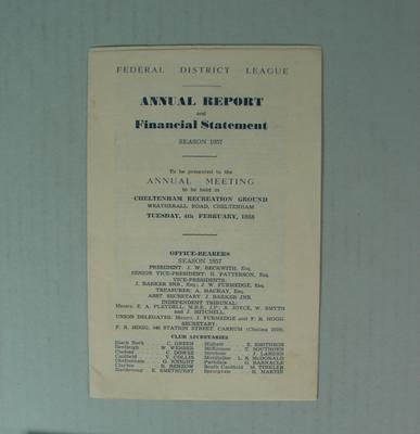 Federal Football League Annual Report and Financial Statement, Season 1957