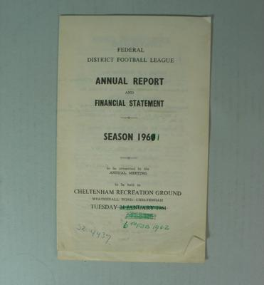 Federal District Football League Annual Report and Financial Statement, Season 1961