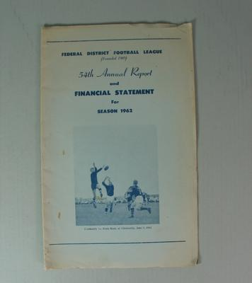 Federal District Football League Fifty Fourth Annual Report and Financial Statement, Season 1962