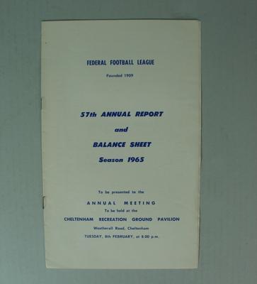 Federal Football League Fifty Seventh Annual Report and Balance Sheet, Season 1965