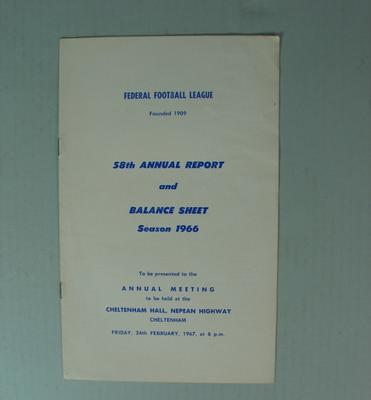 Federal Football League Fifty Eighth Annual Report and Balance Sheet, Season 1966