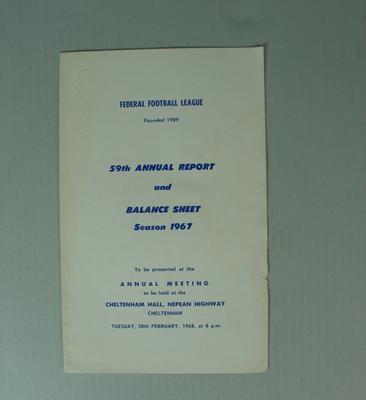 Federal Football League Fifty Ninth Annual Report and Balance Sheet, Season 1967