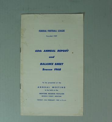 Federal Football League Sixtieth Annual Report and Balance Sheet, Season 1968