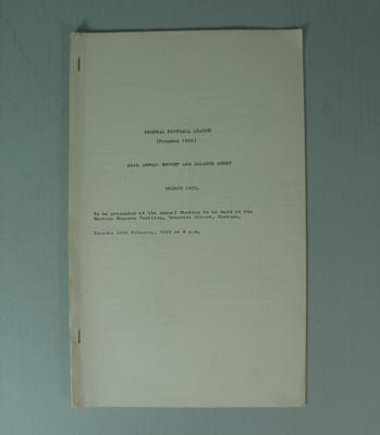 Federal Football League Sixty Fourth Annual Report and Balance Sheet, Season 1972