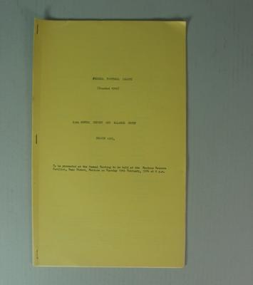Federal Football League Sixty Fifth Annual Report and Balance Sheet, Season 1973