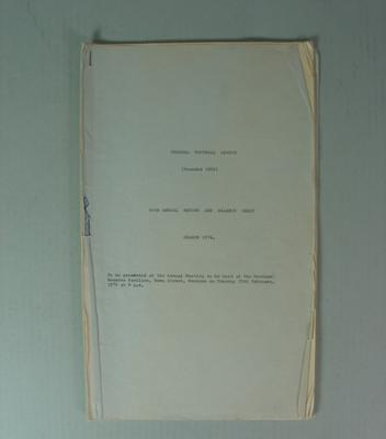 Federal Football League Sixty Sixth Annual Report and Balance Sheet, Season 1974