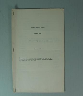 Federal Football League Sixty Seventh Annual Report and Balance Sheet, Season 1975