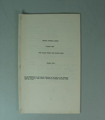 Federal Football League Sixty Eighth Annual Report and Balance Sheet, Season 1976
