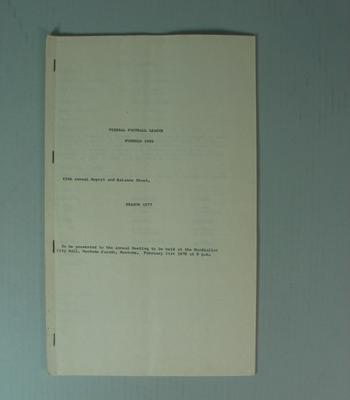 Federal Football League Sixty Ninth Annual Report and Balance Sheet, Season 1977