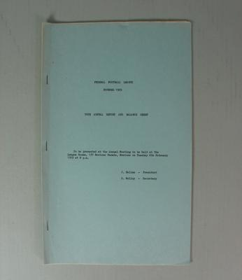 Federal Football League Seventieth Annual Report and Balance Sheet, Season 1978