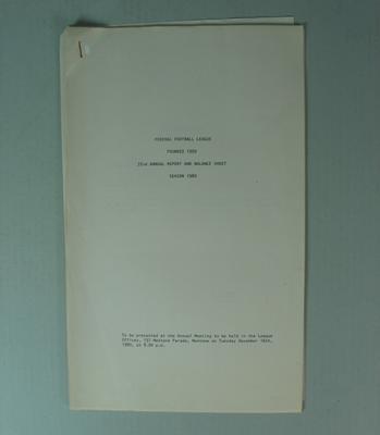 Federal Football League Seventy Second Annual Report and Balance Sheet, Season 1980