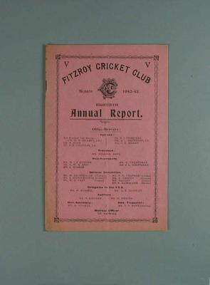 Annual report, Fitzroy Cricket Club - season 1942/43