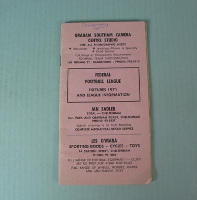 Federal Football League Fixtures, 1971