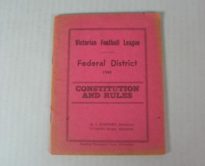 Federal District Football League Constitution and Rules, 1949